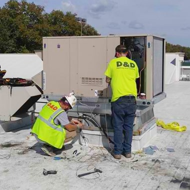D&D Heating and Cooling service technicians