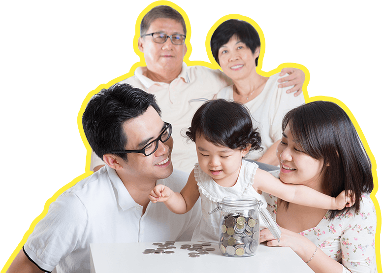 a family of 5 happily saving money